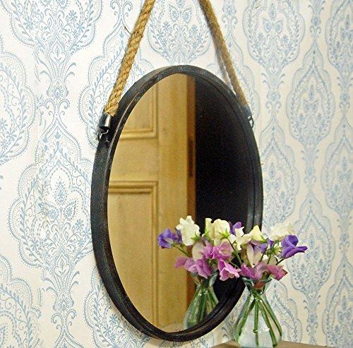 Gris oscuro diseño Vintage espejo redondo con cuerda para colgar.