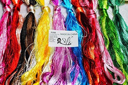 2500 Silk Art China Natural 100% Mulberry Silk Floss Handmade Embroidery Woven Jewelry Threads DIY Kits 50 Colors 336 feet 10 Bunch SIX001