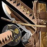 entez Battle Ready Katana Sword Handmade Full Tang Japanese Samurai Sword Damascus Steel/Golden Blade,Very Sharp