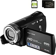 Camcorders ORDRO HDV-V12 HD 1080P Video Camera Recorder Infrared Night Vision Camera Camcorders with 16G SD Card and 2 Bat...