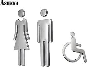Ashnna Restroom Sign, Toilet Sign, Bathroom Sign, Acrylic Adhesive Backed, Men's and Women's, Wheelchair, Unisex Bathroom Door Symbol (Silver)