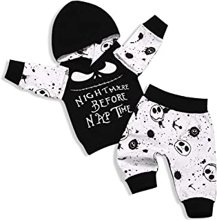 Toddler Baby Boy Girl Clothes 2PCs Outfit Set Nightmare Before Nap Time Top and Skull Pants 0-5T Kids Clothing Set