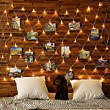 Hiboom Net String Lights Photo Display, 75 LED Net Lights with 25 Photo Clips, USB Operated Remote Control Lighting Photo Cards Memos Hanging for Bedroom Walls Wedding Decoration