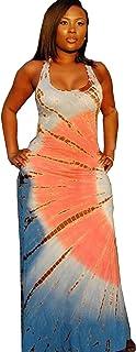 f2ea253bf4 Doris Apparel Women s Boho Sleeveless Tie-Dye Maxi Dress Tank Dress