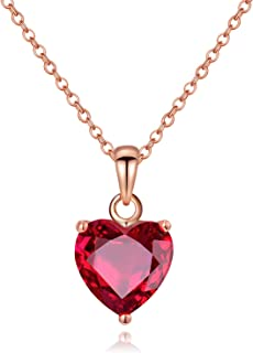Necklace for Women,Necklace Fashion Simple 14k Rose Gold Filled Red Crystal Heart Chain Necklace,Jewelry Gift for Girls Teen Girls