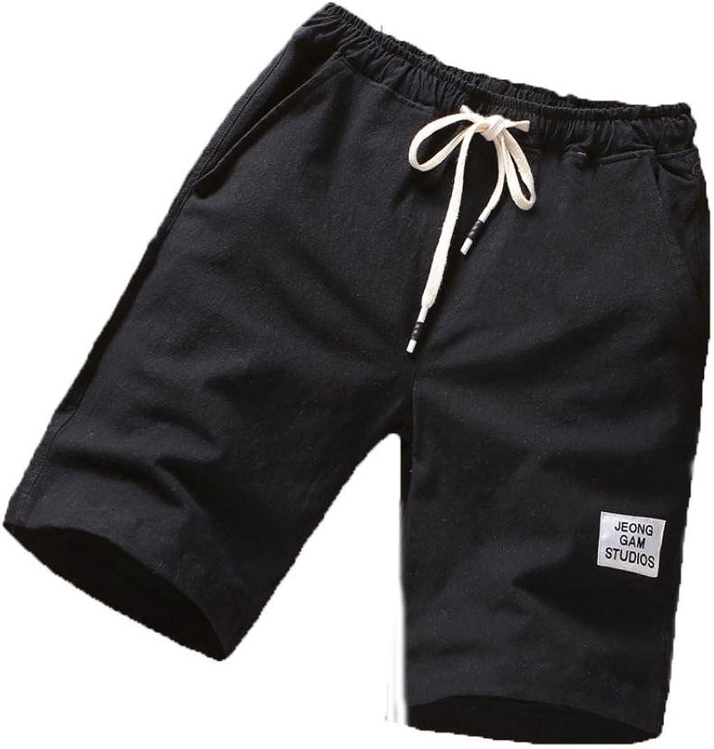 RAISINGTOP Men Beach Attire Board Shorts Sport Cotton Breathable Pants Summer Capri Linen Fitness Running Drawstring