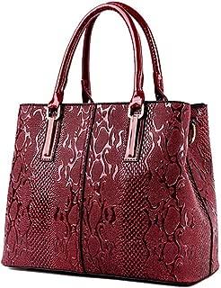 Fine Bag/Handbag Women's Retro Embossed Fashion Shoulder Bag Large Capacity Messenger Bag Multi-Pocket Capacity (Color : Red, Size : One Size)