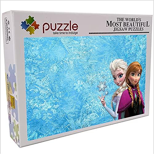 Anna Elsa Puzzle per bambini adulti 1000 pezzi Puzzle di carta Frozen Jigsaw puzzle puzzle game miglior regalo per bambini 70x50cm-Cartoon anime