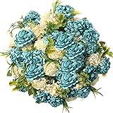 Fiori Artificiali,fiori finti per decorazioni bouquet fiori artificiali per balcone Tavolo Casa Matrimoni Ufficio (Blu)