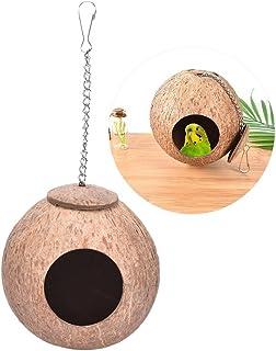 Maison/Lit/Cage en coquille de noix de coco naturelle pour animal domestique tel que perroquet, perruche, canari, pinson, ...