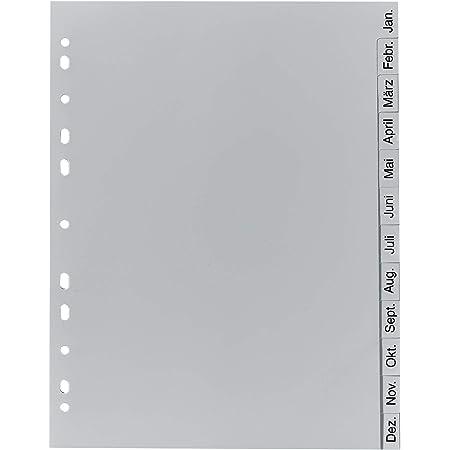 Exacompta - Réf 1812B - Intercalaires en polypropylène gris - 12 touches imprimées janvier à décembre en allemand - adapté pour un classement de documents au format A4 - polypropylène recyclé
