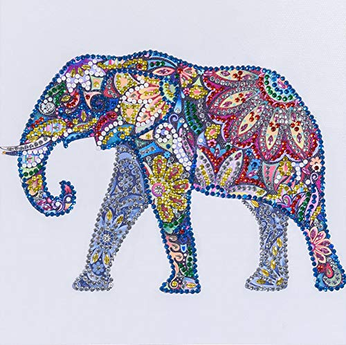 Diamond Painting DIY 5D Special Shape Rhinestones, ABEUTY Colored Elephant, Partial Drill Crystal Diamond Art Kits