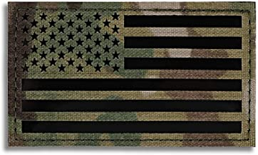 KRYDEX Infrared IR Reflective US USA America Flag Uniform Patch with Hook Fastener Backing 3.5x2 inch (Multicam, Forward)