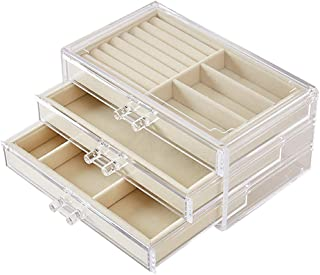 Transparent Jewelry Storage Box Acrylic Material Three-Layer Organizers Earrings Ring Jewelry Display Shelf,Beige