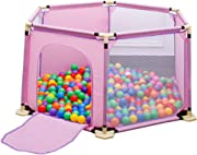 SXXDERTY-playard Portable Playpen Baby Ball Pit Tent Room Divider with Door Toddler Play Yards Fence with Ball and Breathable Mesh  Safety Gates for Indoor Outdoor Infant Kids Activity Center