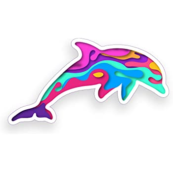 Rogue River Tactical Dolphin Jumping Sticker Bumper Car Decal Gift Colorful Groovy Psychedelic Tie Dye