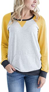 Podlily Women's Raglan Long Sleeve Patch Elbow Sweatshirt Top
