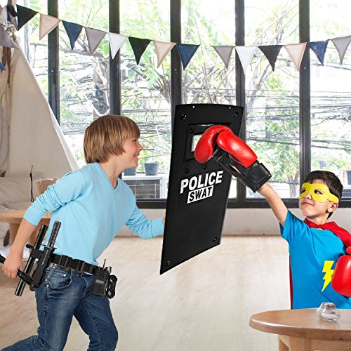 Dress Up America All in One Police Officer Role Play Set for Kids - Includes Swat Shield, Adjustable Belt, Flashlight And more, Durable Plastic Construction, Police Force Halloween Uniform Accessories