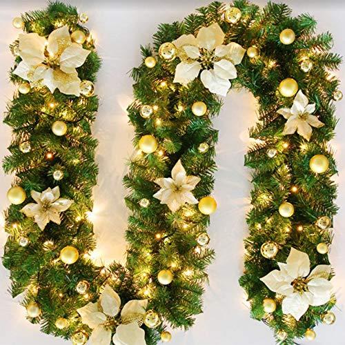 Bcamelys Weihnachtsgirlande mit Beleuchtung Weihnachtsdekoration 270cm Weihnachtsgirlande beleuchtet LED-Schnur beleuchtet Weihnachtstürdekor Weihnachtsgirlande Tannengirlande Lichterkette (Golden)