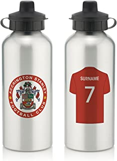 Accrington Stanley Official Personalized Aluminium Water Bottle with Spring Hook (600ml) - Silver/White (Free Personalization)