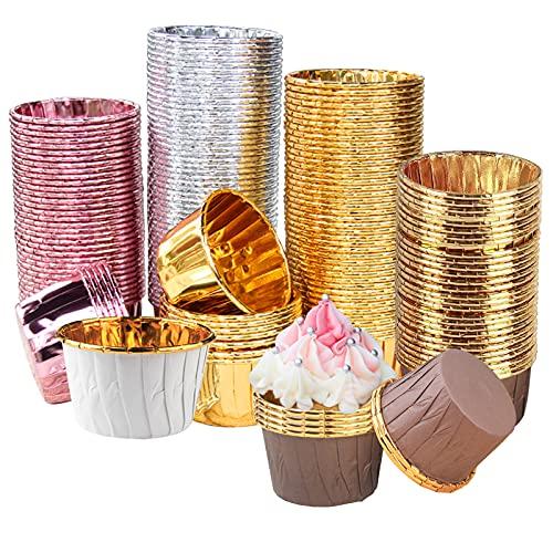Tallgoo 200 Piezas Papel Cupcakes, Moldes de Papel de Aluminio para Hornear,Magdalenas en papél,Muffin Papel Magdalenas para la Fiesta de Cumpleaños de la Boda Baby Shower