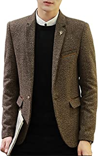 LINGMIN Men's 1 Button Center Vent Jacket Casual Slim Fit Tweed Blend Blazer Jacket