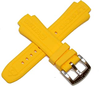 Swiss Legend 24MM Yellow Silicone Rubber Watch Strap & Silver Stainless Buckle fits 44mm Neptune Watch
