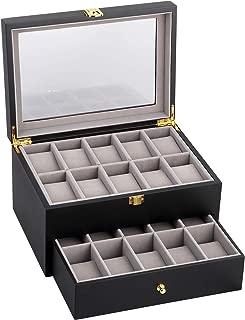 20 Slot Wooden Watch Box Jewelry Organizer Storage Case with Glass Top
