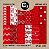 Red Nordic Christmas Scrapbook Paper (12) 8x8 Inch Double Sided Scrapbooking Pages Paper Pad: Crafters Delight By Leska Hamaty