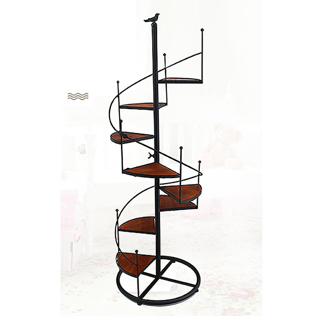 ZHEN GUO Escalera de Caracol de diseño en Negro Escaparate de Metal Unidad de estantería con 8 estantes (8 Niveles) en maceteros Decorativos Decoración de hogar y jardín (Tamaño : Medio): Amazon.es: Hogar