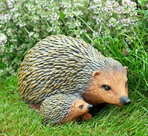 Hedgehog with Hoglet Garden Sculpture Resin Animal Mother and Baby Ornament Lawn Decor Statue Gift