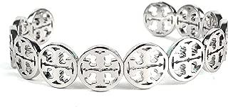 Tory Burch Frozen Logo Cuff Bracelet Silver Plated Womans