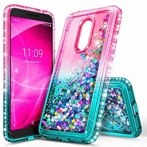Revvl 2 Case (T-Mobile), NageBee Glitter Liquid Quicksand Waterfall Floating Flowing Sparkle Shiny Bling Diamond Shockproof Girls Cute Case for (T-Mobile) Alcatel Revvl 2 (2018) -Pink/Aqua