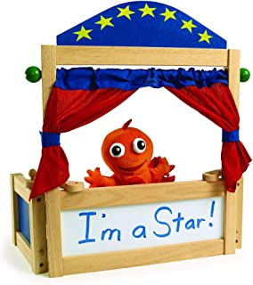 Excellerations Tabletop Dramatic Play Puppet Theater with Dry Erase Panel and Curtains, Pretend Play, Educational Toy, Preschool