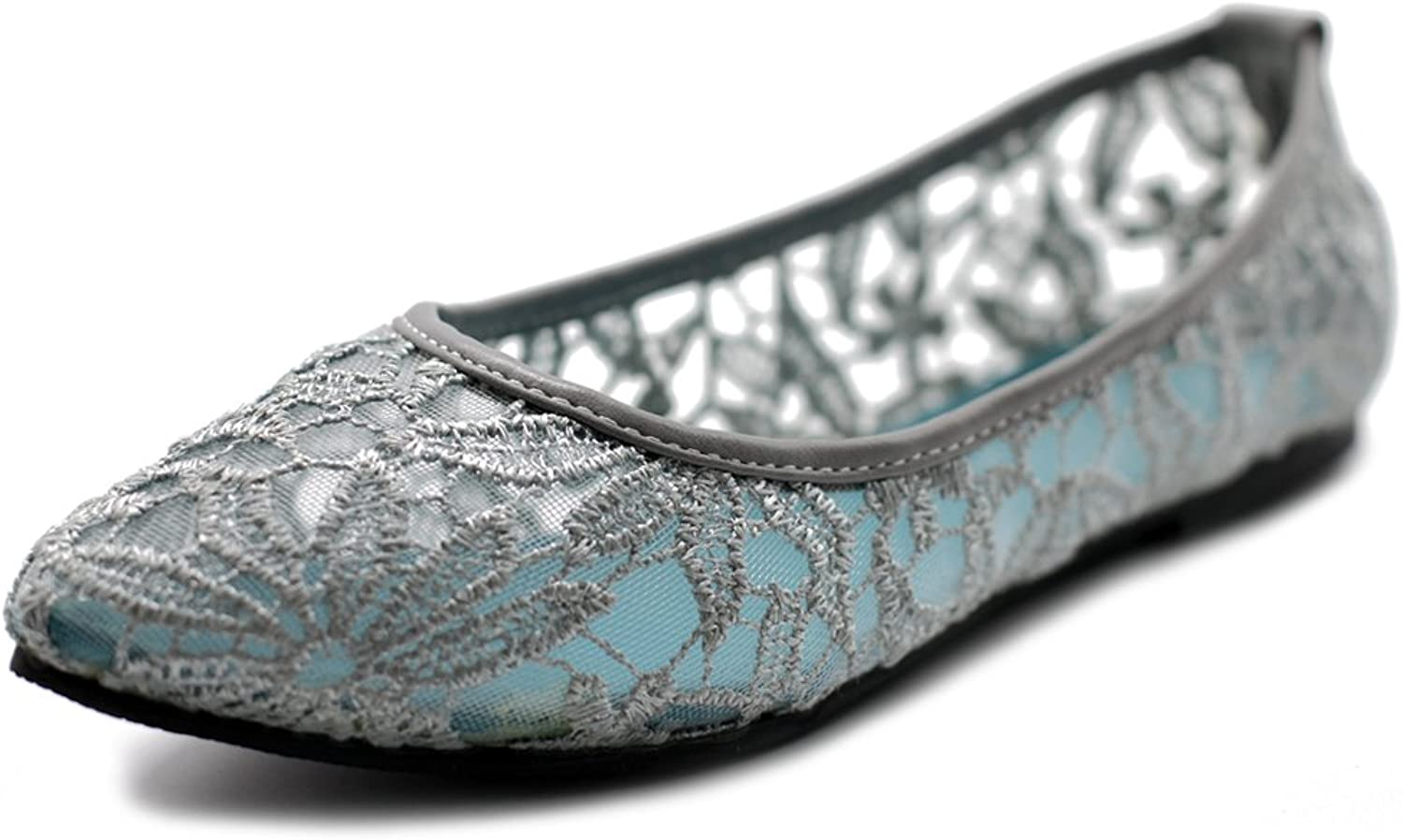 Ollio Women's Ballet shoes Floral Lace Breathable Pointed Toe Flat