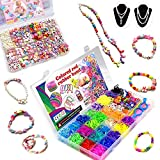 Loom Kit Bands,500 DIY Beads for Kids and 1500 Rubber Bands Bracelet Kit for Girls,Jewelry Making Kits Girls Acrylic Colorful Crafting Set for Children Birthday to Improve Imagination Two-Piece