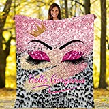 Hello Gorgeous Throw Blankets, Glittering Pink Eyelash Leopard Bed Blankets for Men Women Gifts, Warm Cozy Couch Blanket for Cold Winter, Ultra Soft Fleece Blankets for Sofa, Car, Office, Travel