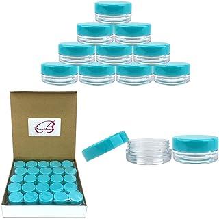 (Quantity: 50 Pieces) Beauticom 3G/3ML Round Clear Jars with Teal Sky Blue Lids for Scrubs, Oils, Toner, Salves, Creams, L...