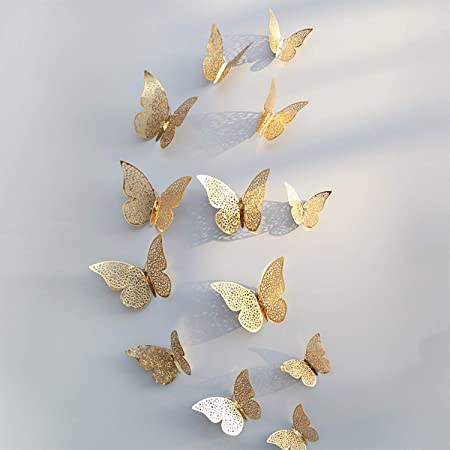 Xtore® 12pcs 3D Home Decor Butterfly with Sticking Pad(Shimmer Golden)(Set of 12)