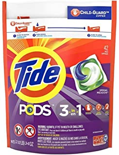Tide 3 in 1 Liquid Laundry Detergent Pacs with Child Guard Zipper, 42 Capsules, Spring Meadow, 967g / 34 OZ