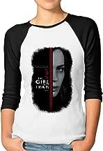 Women's The Girl On The Train Athletic 3/4 Sleeve Cotton Baseball TShirts Black