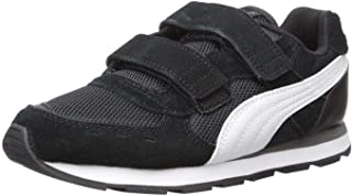 PUMA Unisex-Baby Vista V Sneaker, Black-White, 5 M US Toddler