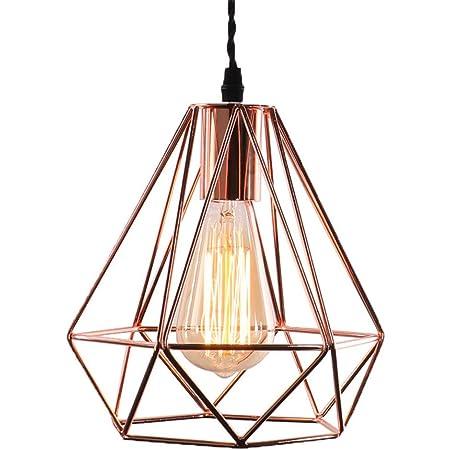 Vintage Industrielle Lampe Suspension Métal 3D Diamant Shape Lustre Douille E27 Eclairage Décoration pour Salon Chambre Restaurent Salle à Manger ( Or Rose )[Classe énergétique A++]