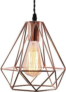 Vintage Industrielle Lampe Suspension Métal 3D Diamant Shape Lustre Douille E27 Eclairage Décoration pour Salon Chambre Re...