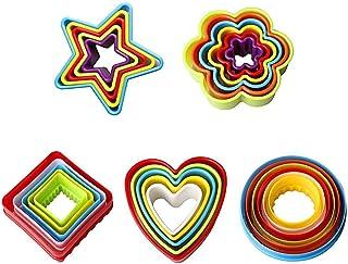 LHKJ Cortadores de Galletas de plástico con Formas de corazón, Estrella y Flor ect para