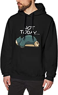 Evmjser Snorlax Not Today Men's Classic Long Sleeve Fleece Sweater Pullover Size 3XL Black