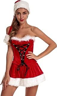 Women's Christmas Costume Set Mrs. Santa Claus Bustier Corset Strapless Dress Set