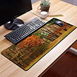 Comfortable Mouse Pad 60x35 cm,Otoño, nublado día nublado en septiembre Arbustos Pinos Acera ,Impermeable con Base de Goma Antideslizante,Special-Textured Superficie para Gamers Ordenador, PC y Laptop