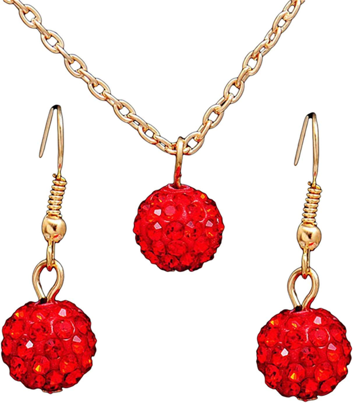 WEILYDF 2 Pcs/Set Chain Ball Shape Rhinestone Pendant Necklace Earrings Set Ethnic Style Wedding Birthday Jewelry Gift for Women,Red