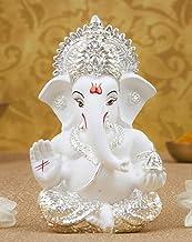 Gold Art India Ceramic Lord Ganesh Idol, 8 x 10, Silver